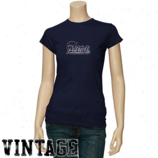 New England Patriots T Shirt : New England Patriots Ladies Navy Blue Gutsy Play Vintage T Shirt