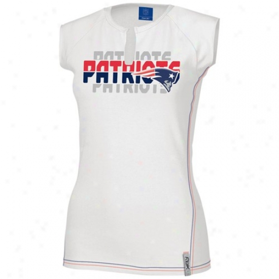New England Patriots T Shirt : Reebok New England Patriots Ladies White Astronomy Split Neck T Shirt