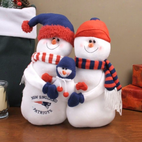 New England Patriots Tabletop Snowman Family Plush Figurine