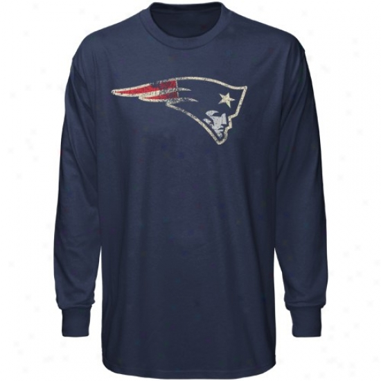 New England Patriots Tees : Reebok New England Patriots Youth Navy Blue Distressed Logo Long Sleeve Tees