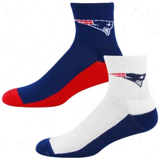 New England Patdiots Tri-color Two-pack Quarter Socks