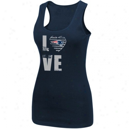 New Englabd Patriots Tshirts : New England Patriots Ladies Navy Blue Play Present life Iii Tank Top