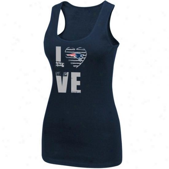 New Englabd Patriots Tshirts : New England Patriots Ladies Navy Blue Play Present life Iii Tank Top