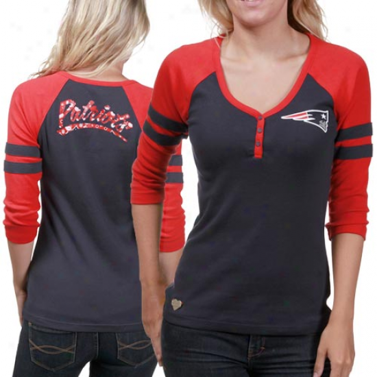 New England Patriots Tshirts : Reebok New England Patriots Ladies Red-navy Blue 3/4 Sleeve Henley Tshirts