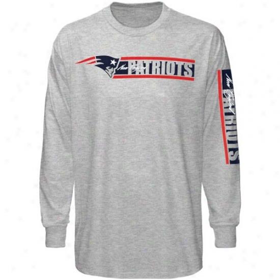 New England Patriots Tshirts : Reebok New England Patriots Ash The Stripes Long Sleeve Tshirts