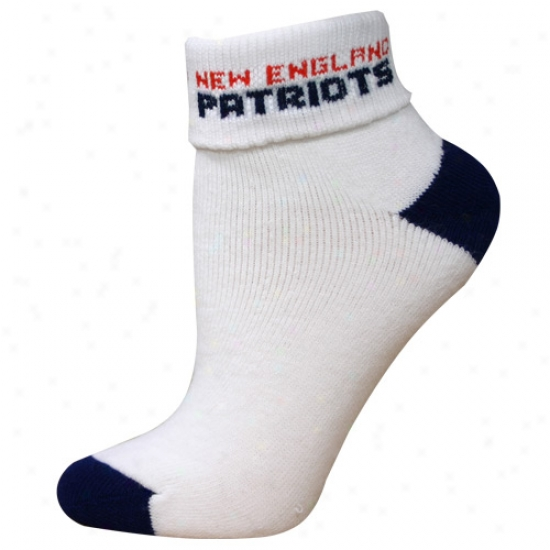 New England Patriots White Ladies (502) 9-11 Fold Down Ankle Socks