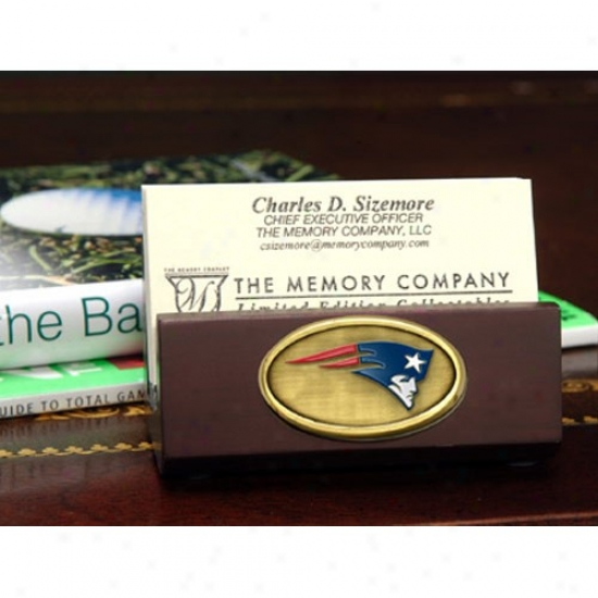 New England Patriots Wooden Business Card Holder