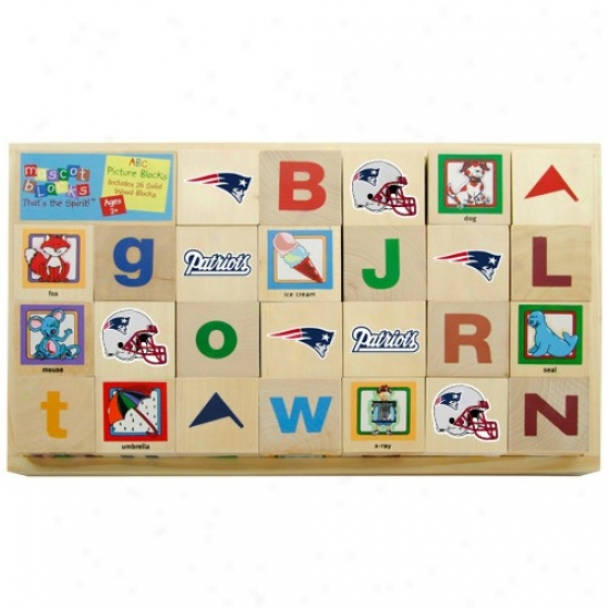 New England Patriots Wooden Football Alphabet Blocks