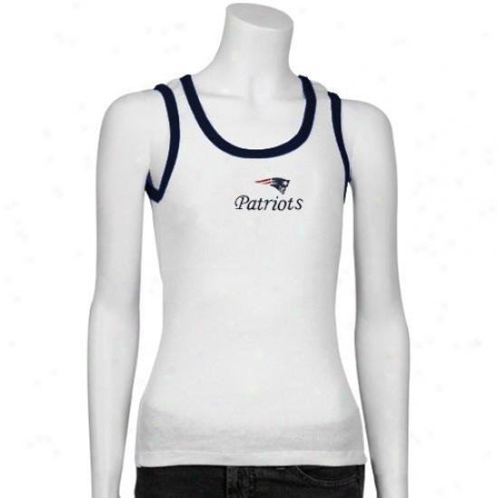 New Englanr Pats Clothes: Reebok Repaired England Pats Ladies White Malibu Tank Top