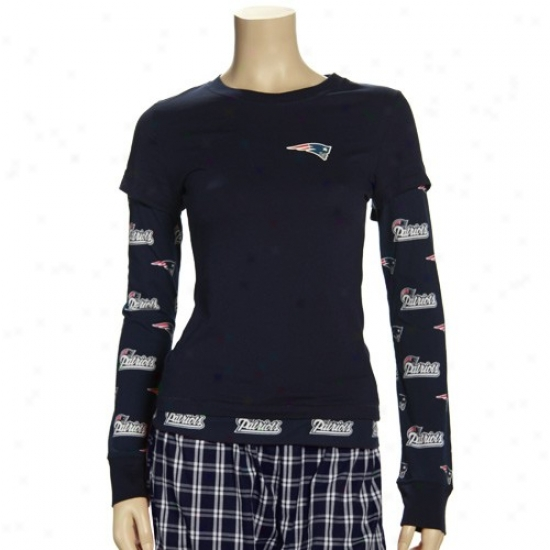 New England Pats Attire: Reebok New England Pats Ladies Navy Blue T2 Double Layer Long Sleeve T-shirt