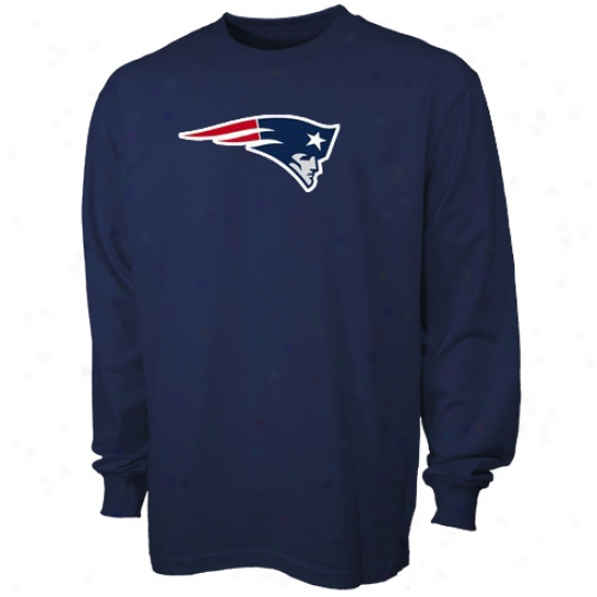 New England Pats Attire: Reebok New England Pats Preschool Navy Blue Logo Premier Long Sleeve T-shirt