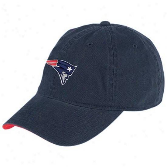 New England Pats Caps : Reebok New England Pats Navy Basic Logo Caps