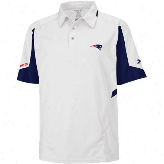 New England Pats Clothing: Reebok Novel England Pats White Coaches Gravity Polo