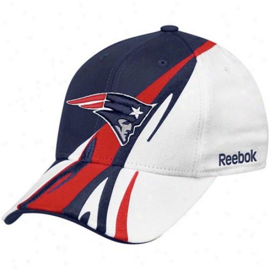 New England Pats Gear: Reebok New England Pats White-navy Blue Cut & Sew Adjustable Hat
