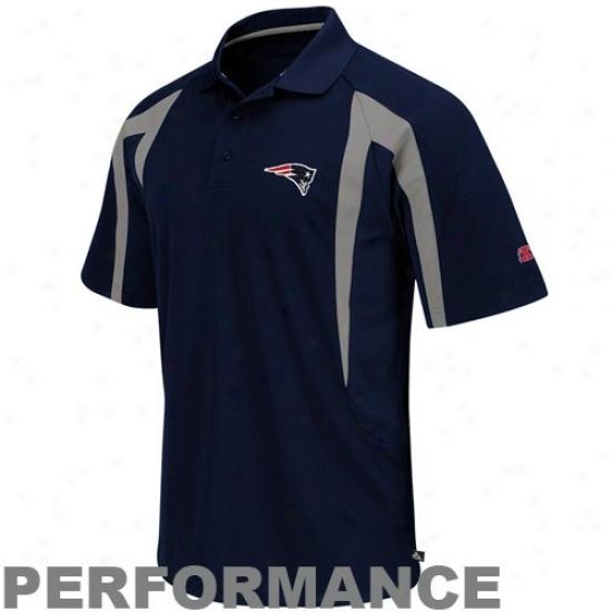 New England Pats Golf Shirt : New England Pats Navy Blue Field Classic Iii Performance Golf Shirt