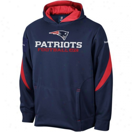 New England Pats Hoodies : Reebok New England Pats Youth Navy Blue Turbine Ensnare Hoodies