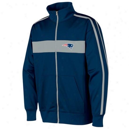 New England Pats Jacket : New England Pats Navy Blue Nose Tackle Track Jacket
