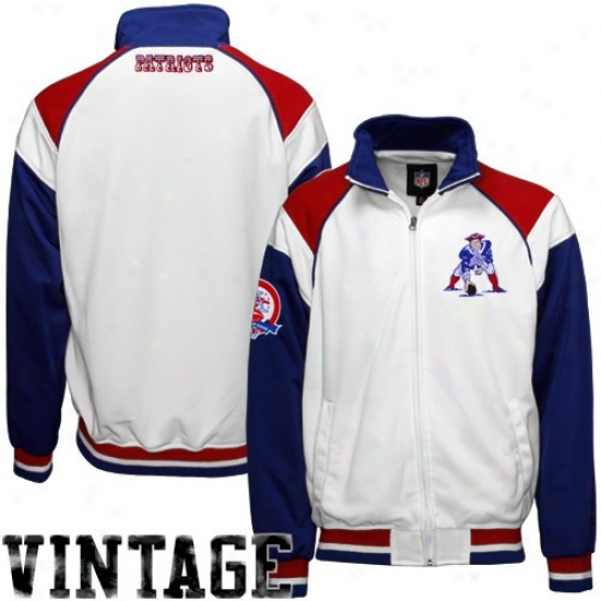 New England Pats Jackets : Boston Patriots White Afl Poly Plated Track Jackets W/ Vintage Satin Applique