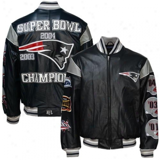 New England Pats Jackets : New England Pats Black Leather Super Hollow Champions Commemorative Javkets
