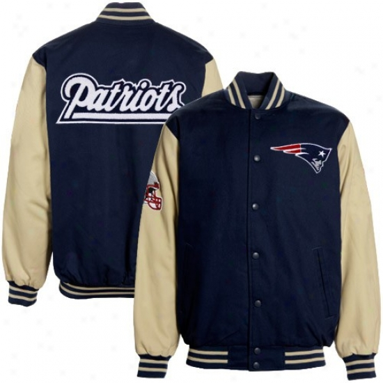 New England Pats Jackets : New England Pats Navy Blue Twill & Chenilie Logos Canvas Jackets