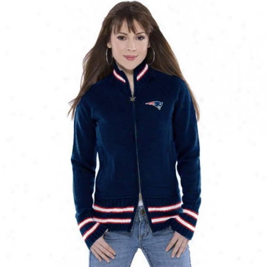 New England Pats Jackets : Touch By Alyssa Milano New England Pats Ladies Navy Blue Draft Day Jackets