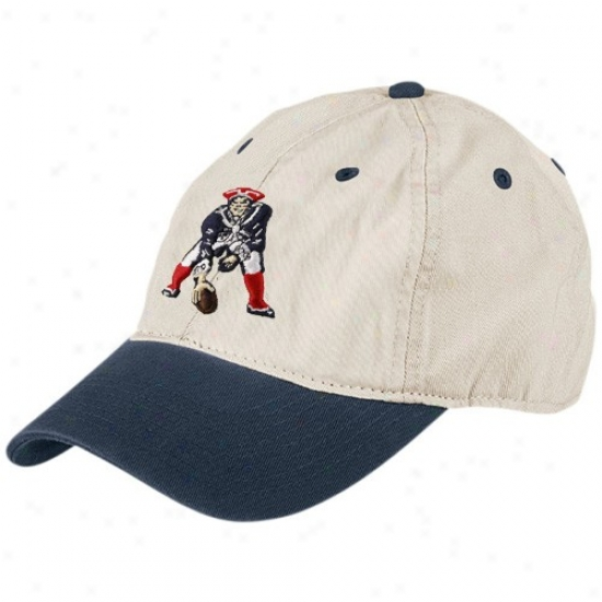 Neww England Pats Merchandise: Reebok New England Pats Natural Garment Washed Throwback Logo Relaxed Adjustable Hat