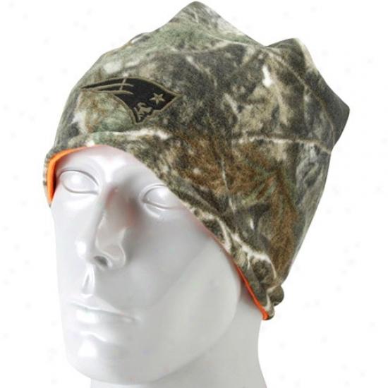 New England PatqM erchandise: Reebok New England Pats Real Tree Camo-orange Revereible Knit Beanie
