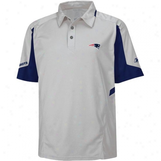 New England Pats Polo : Reebok New England Pats Gray Coaches Gravoty Polo