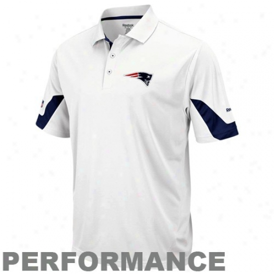 New England Pats Polos : Reebok New England Pats White-navy Pedantic  Sideline Team Performance Polos