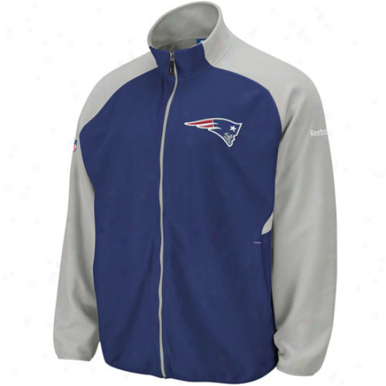 New England Pats Stuff: Reebok New England Pats Navy Blue-silver Sideline Full Zip Fleece Jacket