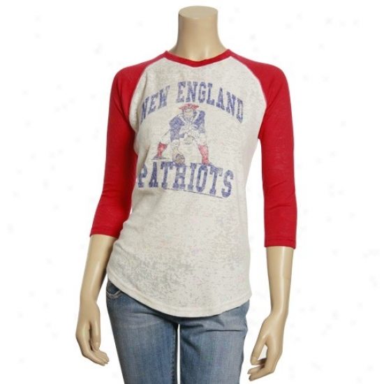 New Engkand Pts T-shirt : Junk Food New England Pats Ladies White-red Distressed 3/4 Sleeve Warm Raglan T-shirt