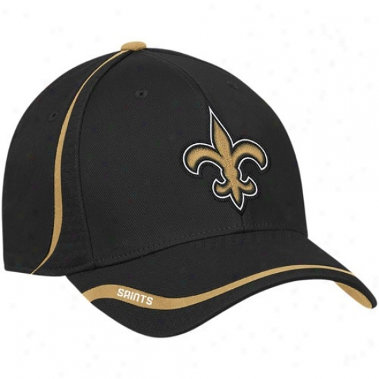 New Orleanx Saint Caps : Reebok New Orleans Saint Black Coaches Flex Caps