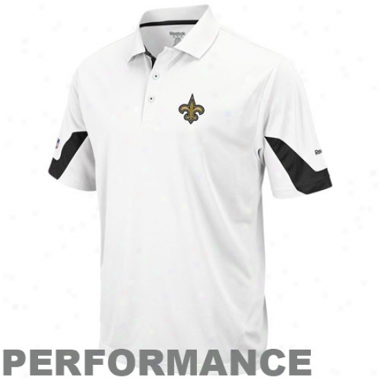 New Orleans Saint Clothing: Reebok New rOleans Saint White-black Sideline Team Performance Polo