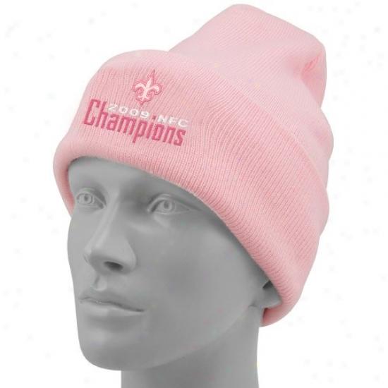 New Orleans Saint Hat : New Orleans Saint Ladies Pink 2009 Nfc Champions Baucis Cuffed Knit Beanie