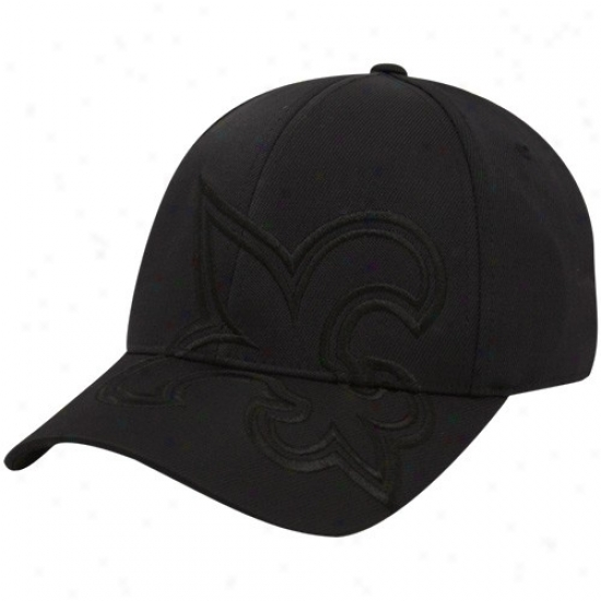 New Orleans Saint Hats : Reebok New Orleans Saint Black Tonal Structured Flex Fit Hats
