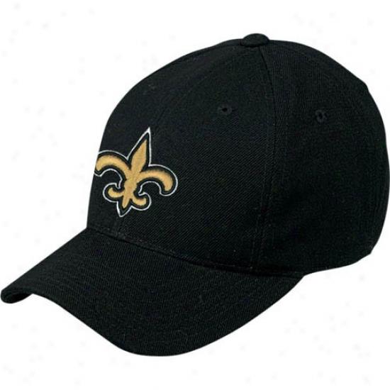 New Orleans Saint Hats : Reebok New Orleans Saint Black Basic Logo Wool Blend Hats