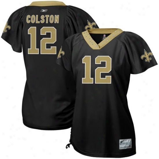 New Orleans Saint Jersey : Reebok Marques Colston New Orleans Saint Women's Field Flirt Premium Fashion Jersey - Black