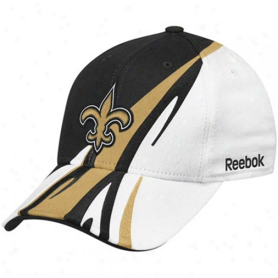 New Orleans Saint Merchanddise: Reebok New Orleans Saint Black-white Cut & Sew Adjustable Hat