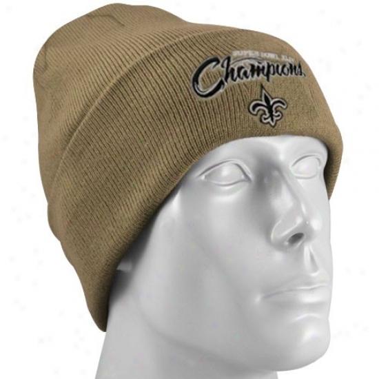 New Orleans Saint Merchandise: Reebok New Orleans Saint Gold Sper Bowl Xliv Champions Cuffed Beanie