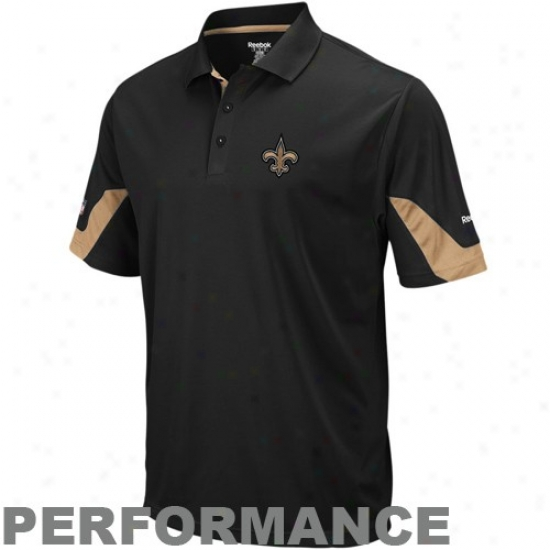 New Orleans Saint Polo : Reebok New Orleans Saint Black-gold Sideline Team Performance Polo