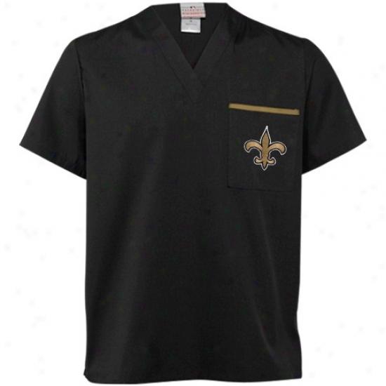 New Orleans Saint Shirts : New Orleans Saint Black Scrub Top