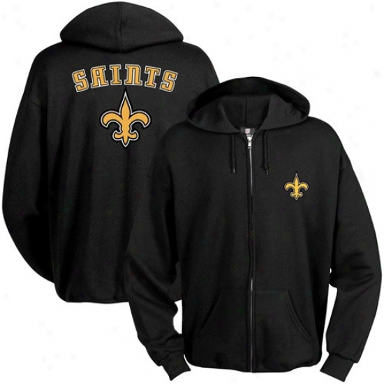 New Orleans Saint Cram: New Orleans Saint Black Touchback Full Zip Hoody Sweatshirt