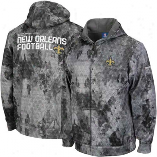 New Orleans Saint Sweatshirts : Reebok New Orleans Saint Gray Camo Sidelime United Digital Print Full Zip Sweatshirts