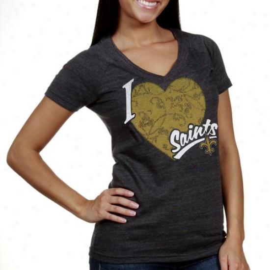 New Orleans Saint T-shirt : Reebok New Orleans Saint Ladies Charcoal I Love This Team V-neck Tri-blend T-shirt