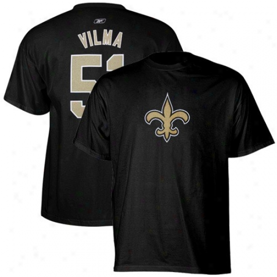 New Orleans Saint Tee : Reebok New Orleans Saint #51 Jonathan Vilma Williams Black Scrimmage Gear Tee