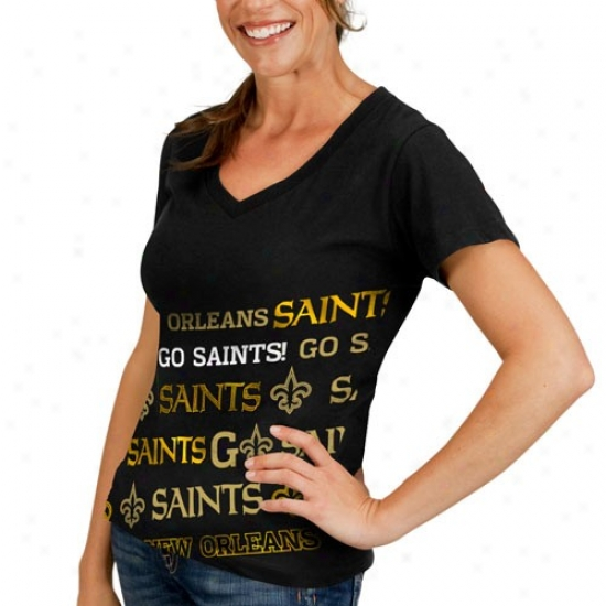 New Orleans Saint Tshirt : New Orleans Saint Ladies Black Bling Diva Premium V-neck Tshirt