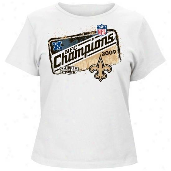New Orleans Saint Tshirt : New Orleans Saint Ladies Whit 2009 Nfc Champions Locker Room Tshirt