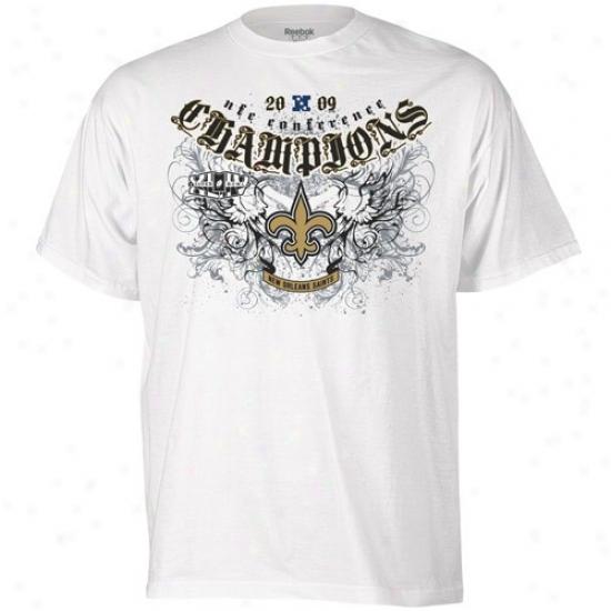 New Orleans Saint Tshirt : Reebok New Orleans Saint White 2009 Nfc Champions Rebelistic Tshirt