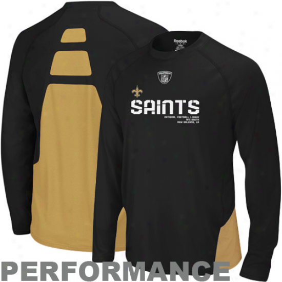 New Orleans Saint Tshirt : Reebok New Orleans Saint Black Conflict Sideline Performance Long Sleeve Tshirt