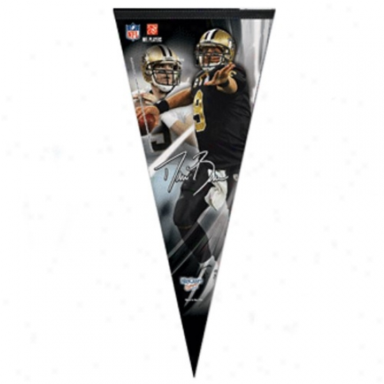 """new Orleans Saints #9 Drew Brees Black 17"""" X 40"""" Performer Felt Pennant"""
